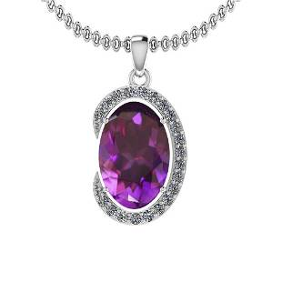 Certified 883 Ctw I2I3 Amethyst And Diamond 14K White