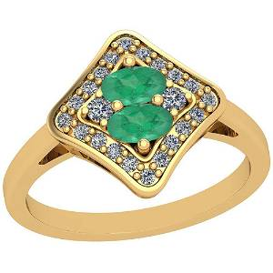 1.33 Ctw VS/SI1 Emerald And Diamond 14K Yellow Gold Vin