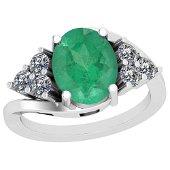 4.10 Ctw VS/SI1 Emerald And Diamond Platinum Vintage St