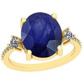 3.96 CtwBlue Sapphire And Diamond I2/I3 10K Yellow Gold