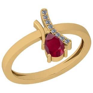 054 Ctw Ruby And Diamond I2I3 14K Yellow Gold Vintage