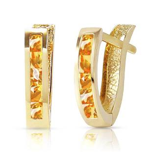 07 Carat 14K Solid Gold Oval Huggie Earrings Citrine
