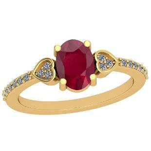 086 Ctw Ruby And Diamond I2I3 14K Yellow Gold Vintage