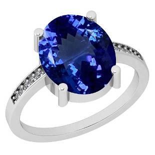 433 Ctw VSSI1 Tanzanite And Diamond Platinum Ring