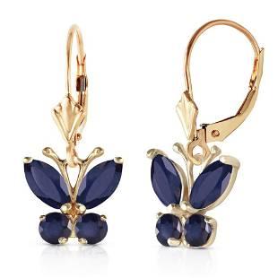 124 Carat 14K Solid Gold Butterfly Earrings Sapphire