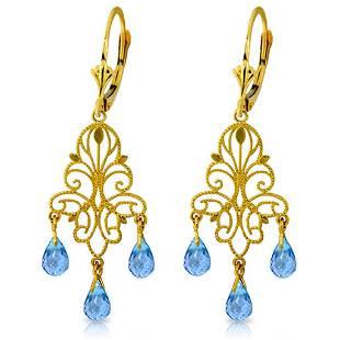 375 Carat 14K Solid Gold Mademoiselle Blue Topaz Earri
