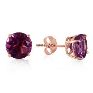 31 Carat 14K Solid Rose Gold Anna Amethyst Stud Earrin