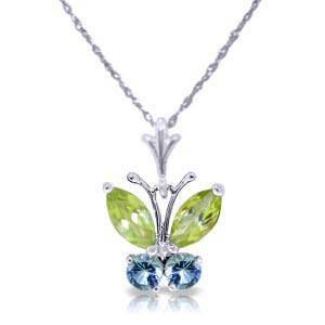 06 CTW 14K Solid White Gold Butterfly Necklace Blue To