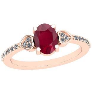 086 Ctw Ruby And Diamond I2I3 14K Rose Gold Vintage S