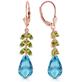 14K Solid Rose Gold Leverback Earrings with Peridot & B