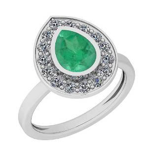 177 Ctw Emerald And Diamond I2I3 14K White Gold Vinta