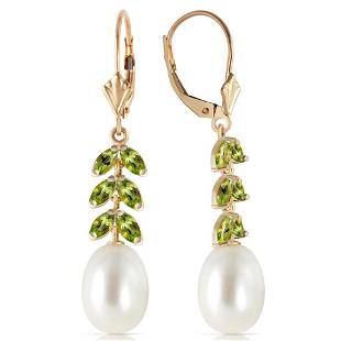 92 Carat 14K Solid Gold Momentum pearl Peridot Earring
