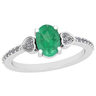 086 Ctw Emerald And Diamond I2I3 14K White Gold Vinta