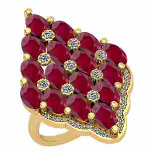 595 Ctw VSSI1 Ruby And Diamond 14K Yellow Gold Vintag