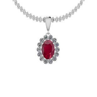 568 Ctw Ruby And Diamond SI2I1 14K White Gold Pendant
