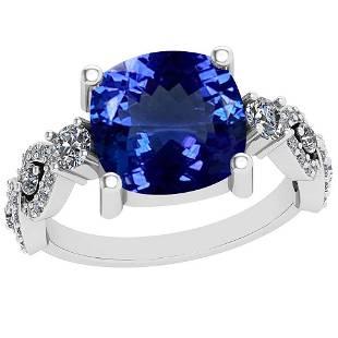 519 Ctw VSSI1 Tanzanite And Diamond Platinum Ring