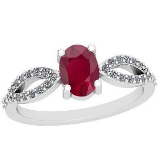 064 Ctw Ruby And Diamond I2I3 14K White Gold Vintage