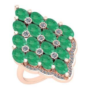 595 Ctw VSSI1 Emerald And Diamond 14K Rose Gold Vinta