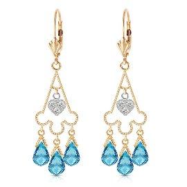 4.83 Carat 14K Solid Gold Chandelier Diamond Earrings B