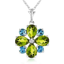 2.43 CTW 14K Solid White Gold Necklace Peridot Blue Top