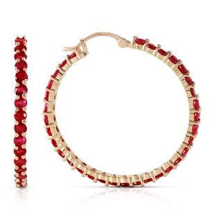 6 Carat 14K Solid Gold Alana Ruby Hoop Earrings