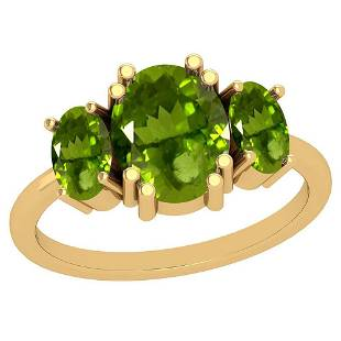 300 Ctw Peridot 14K Rose Gold Vintage Style Ring