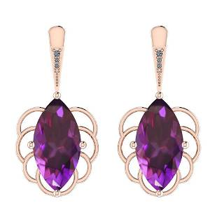 Certified 1700 Ctw I2I3 Amethyst And Diamond 14K Rose