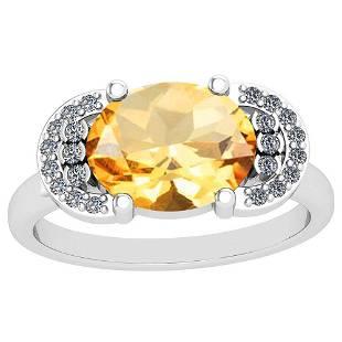 285 Ctw I2I3 Citrine And Diamond 10K White Gold Vinta