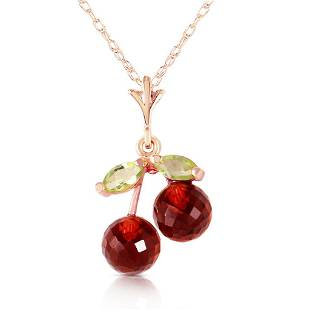 14K Solid Rose Gold Necklace with Garnets Peridots