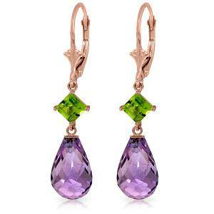 14K Solid Rose Gold Leverback Earrings with Peridots