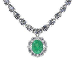 14.44 Ctw SI2/I1 Emerald And Diamond 14K White Gold Nec