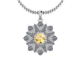 2.41 Ctw Citrine And Diamond I2/I3 10K White Gold Vinta