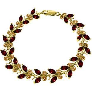 165 Carat 14K Solid Gold Butterfly Bracelet Garnet Cit