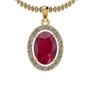 286 Ctw Ruby And Diamond SI2I1 14K Yellow Gold Pendan