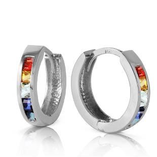 13 Carat 14K Solid White Gold Hoop Earrings Multicolor