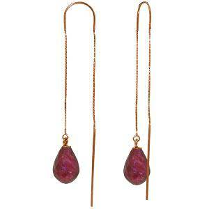 14K Solid Rose Gold Threaded Dangles Earrings with ruby