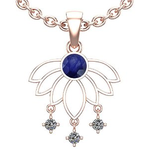 0.60 Ctw VS/SI1 Blue Sapphire And Diamond 14K White Gol