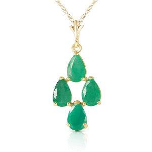1.5 Carat 14K Solid Gold Love Portrait Emerald Necklace
