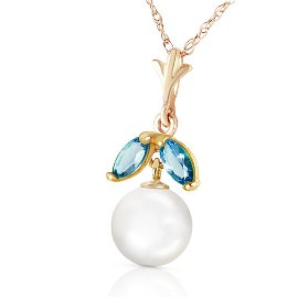 2.2 CTW 14K Solid Gold Necklace Natural pearl Blue Topa