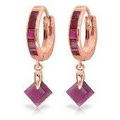 3.7 Carat 14K Solid Rose Gold Hoop Earrings Dangling Ru