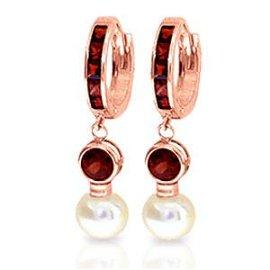 4.3 Carat 14K Solid Rose Gold Huggie Earrings pearl Gar