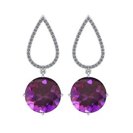 Certified 15.40 Ctw I2/I3 Amethyst And Diamond 14K Whit