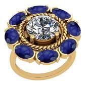 5.00 Ctw I2/I3 Blue Sapphire And Diamond 14K Yellow Gol