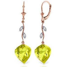 21.52 Carat 14K Solid Rose Gold Diamond Spiral Lemon Qu