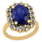 5.08 Ctw VS/SI1 Blue Sapphire And Diamond 14K Yellow Go