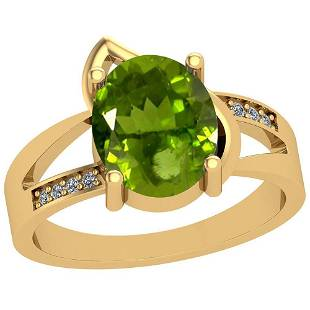 2.54 Ctw Peridot And Diamond I2/I3 10k Yellow Gold Vint