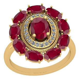 3.13 Ctw VS/SI1 Ruby And Diamond 14K Yellow Gold Vintag