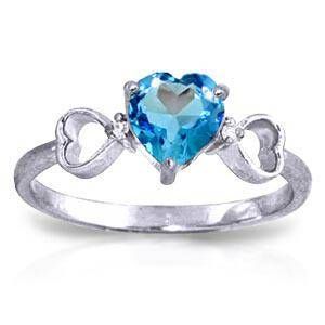 0.96 Carat 14K Solid White Gold Carry You Home Blue Top