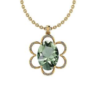 Certified 12.40 Ctw Green Amethyst And Diamond I1/I2 10