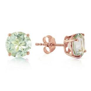 3.1 Carat 14K Solid Rose Gold Stud Earrings Natural Gre